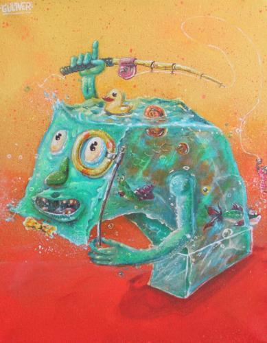 """""""Побег из аквариума"""" (холст  35х45см, акрил, 2016)"""